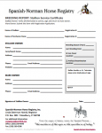 Spanish-Norman Breeding Report: Stallion Service Certificate